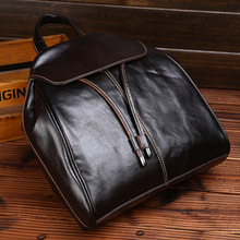 The New Head Layer Cowhide Girl Double Shoulder Bag Leisure Girl Bag Travel Simple Backpack недорого
