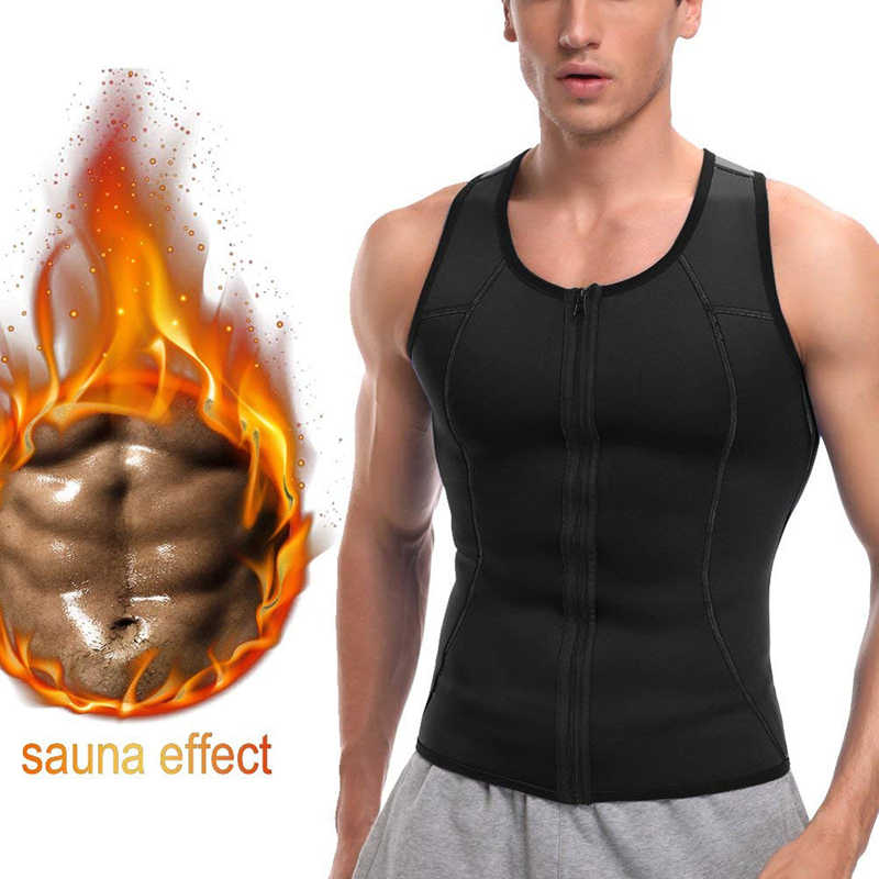 Rits Vest Sport Mens Afslanken Body Shaper Sportscholen Speed Gym Fitness Shaperwear Heren Tank Top Thermische Casual Corset Sport Vest