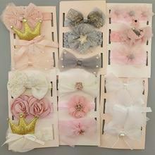 3Pcs/Set Flower Baby Girl Headband Bows Crown Newborn Toddler Turban Hair Band Headbands For Girls Kids Baby Hair Accessories