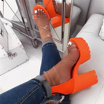 Siddons PVC Transparent Women Summer Platform Sandals Open Toe Zipper Sexy Chunky High Heels Ladies Party Shoes Womans Sandals fanyuan new ladies shoes women sandals summer open toe sweet flower fashion platform high heels wedge sandals female shoes