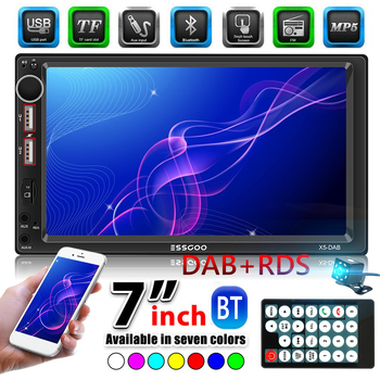 2 DIN Car Radio Multimedia Video Player 7 inch Bluetooth AUX Input USB TF Auto Stereo In Dash Head Unit DAB Auto Stereo + Camera image