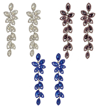 Fashion Color Plated Full Crystal Rhinestone Leaf Shape Charm Dangle Earring Bracelet Jewelry for Women leaf design earring set with rhinestone