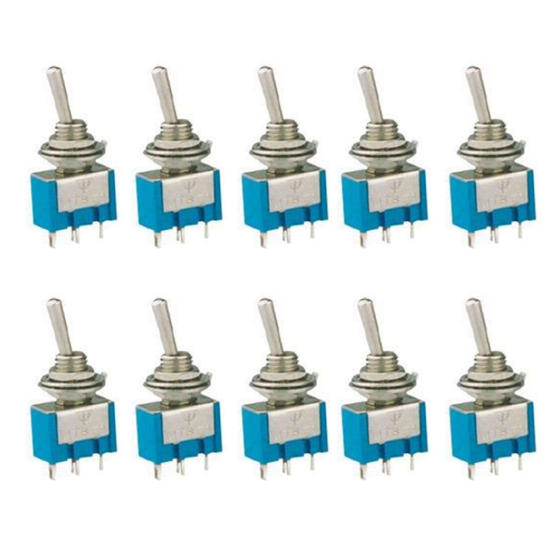 10pcs 2 Pin SPST ON-OFF 2 Position 250VAC Mini Toggle Switches MTS-101