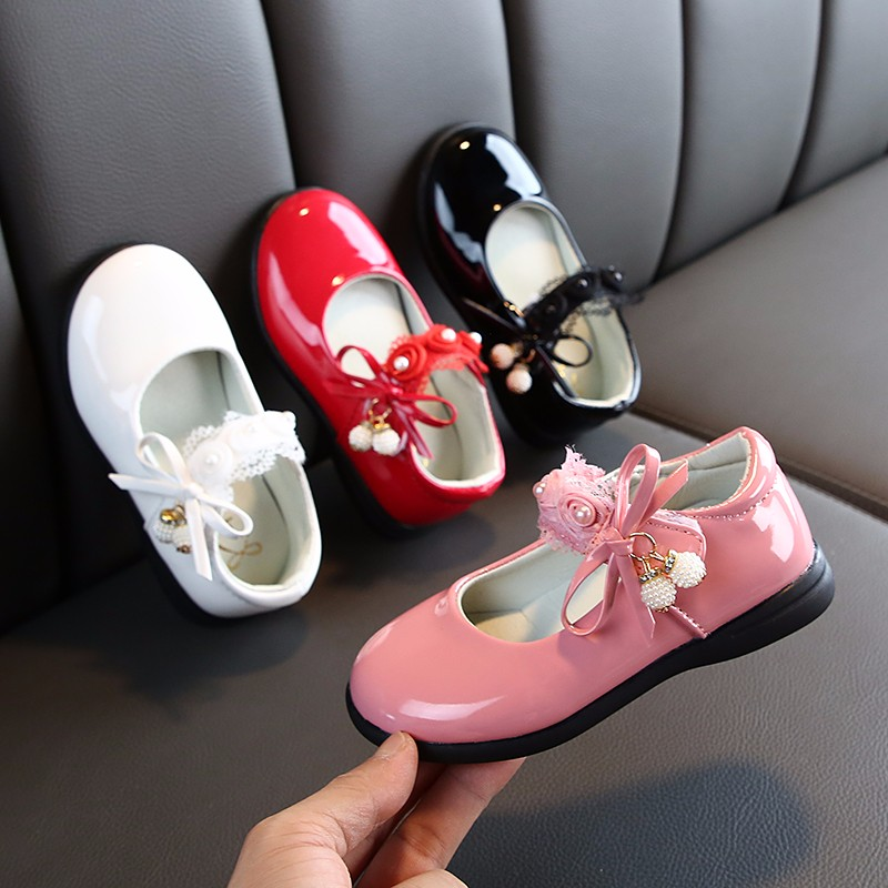 2019 New Fashion Flower Beads Bow Girl Autumn Shoes 3 Years Big Kids Dress Wedding Party Leather Shoe Child 4 5 6 7 8 9 10 11 12|Leather Shoes| |  - title=