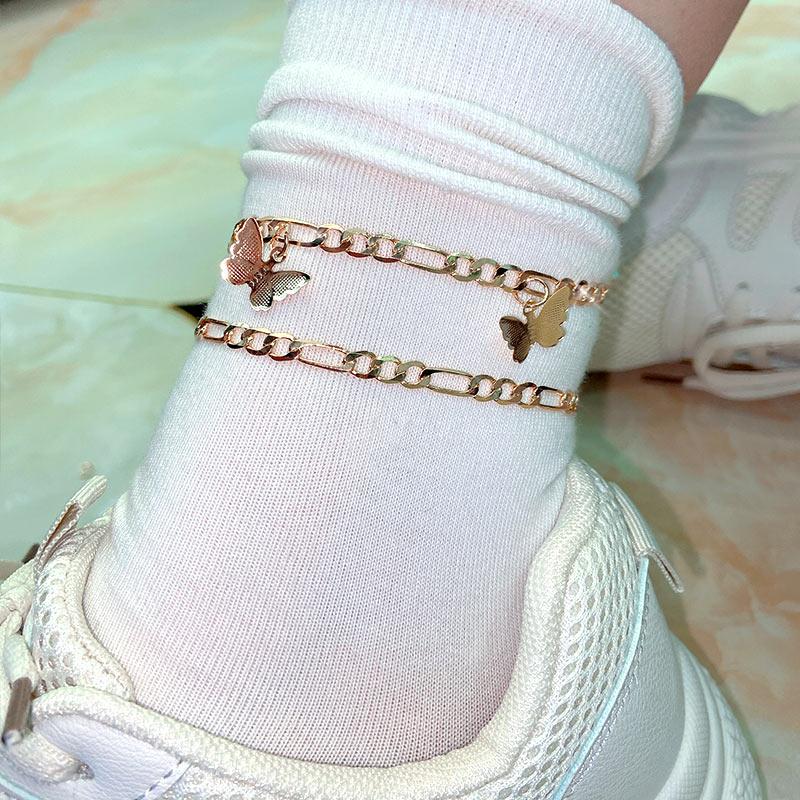 Kasajewel 2Pcs/Set Vintage Butterfly Anklets Bracelets For Women Gold Color Adjustable Anklet Beach Barefoot Sandals Jewelry