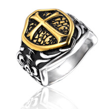 Knights Templar Cross Men Signet Ring Seal Silver Gold Color Titanium Stainless Steel Male Rings Biker Band Punk Hip DCR106