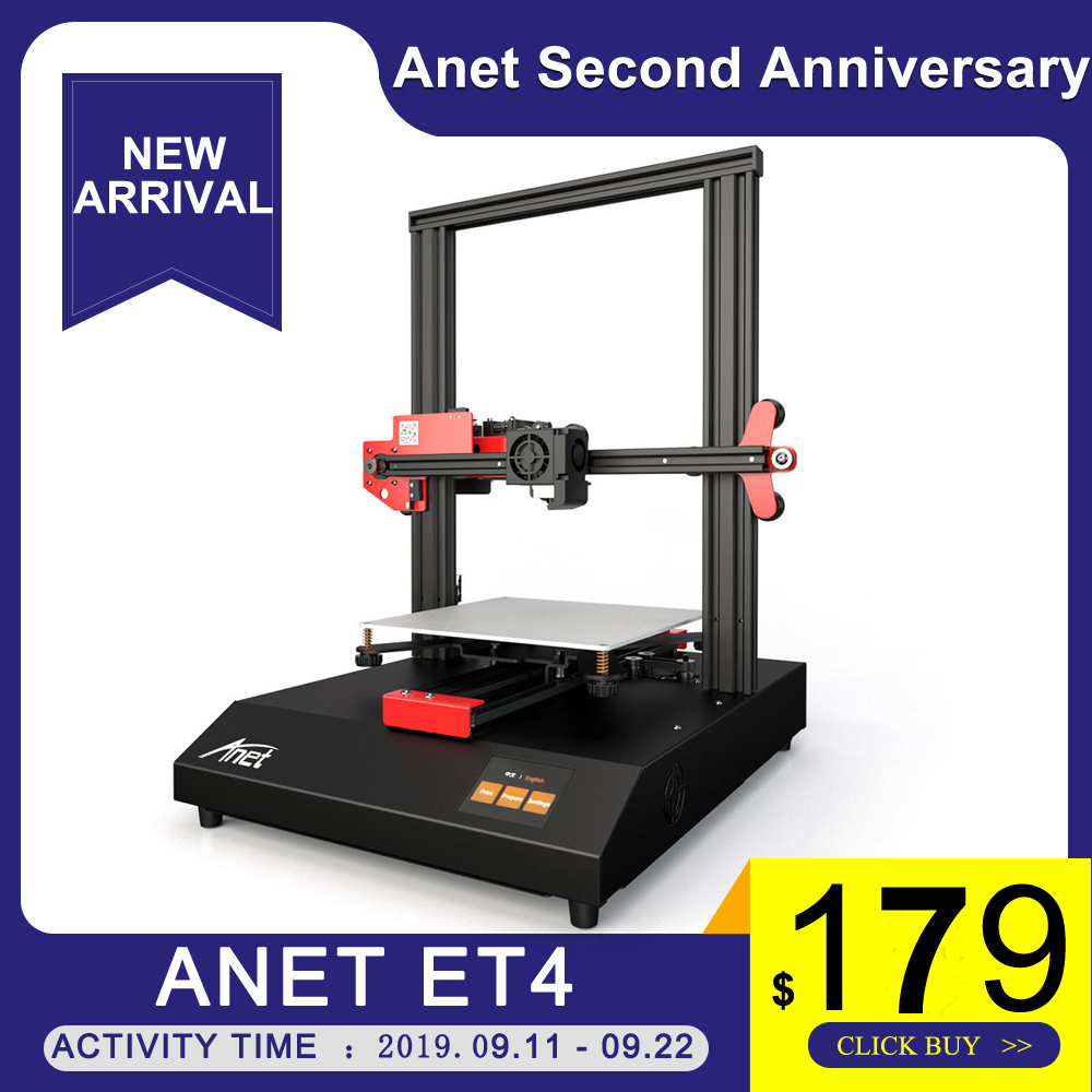 Anet ET4 3D Printer With 2.8 Inch Color Touchscreen Resume Power Failure Printing/Filament Run Out Detection/Auto Leveling