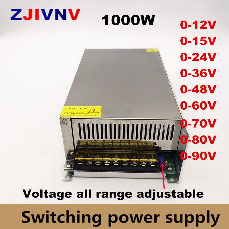 0-12V <font><b>15V</b></font> 24V 36V 48V 55V 60V 72V 80V 90V 110v 150v <font><b>220v</b></font> Adjustable Switching Power Supply Led Power Supply 1000W Ac <font><b>To</b></font> Dc Smps image