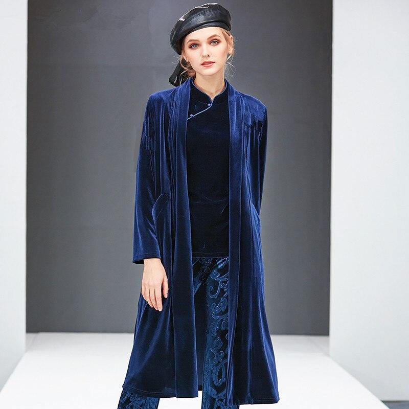 2020 England style Women Plus size Autumn Winter Long velour Coat Female Outerwear velvet Cardigans 6XL 7XL 8XL big size trench