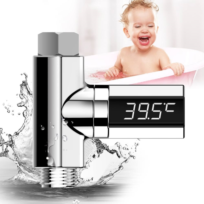LED Display Water Shower Thermometer Home Water Shower Self-Generating Waterproof Thermometer Flow Water Temperture Monitor