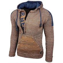 Autumn Winter Men Sweater Vintage Hooded Zipper Warm Knitted Pullovers Men's Casual Long Sleeve Slim Knitwear Sweaters Plus Size