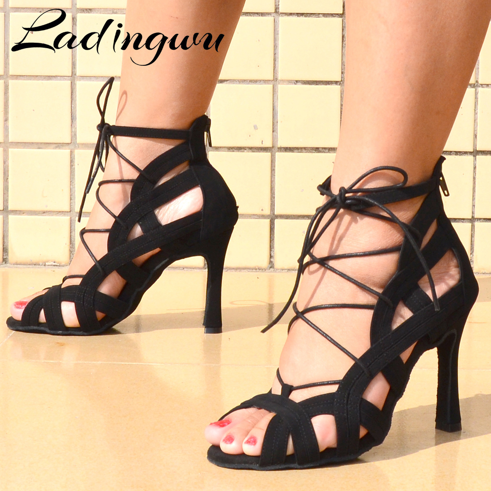 Ladingwu Latin Dance Shoes Black Suede Dance Shoes For Women Girls Professional Dance Boots Ballroom Dancing Shoes