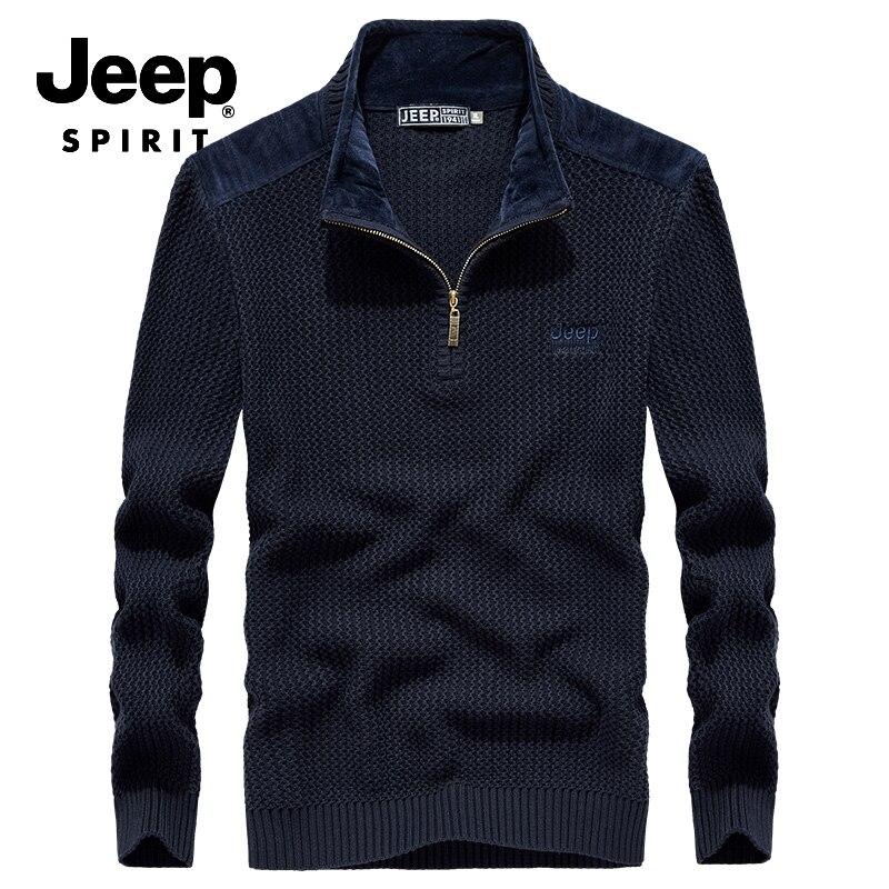 JEEP SPIRIT Famous Brand Sweater Men Autumn Patchwork Pullover Men Long Sleeve Stand Zipper Collar Warm Knitted Wear Men Sweater