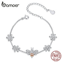 bamoer Insect Bee Queen and Flower Lobster Lock Chain Bracelets for Women 925 Sterling Silver Luxury Jewelry Gifts BSB031