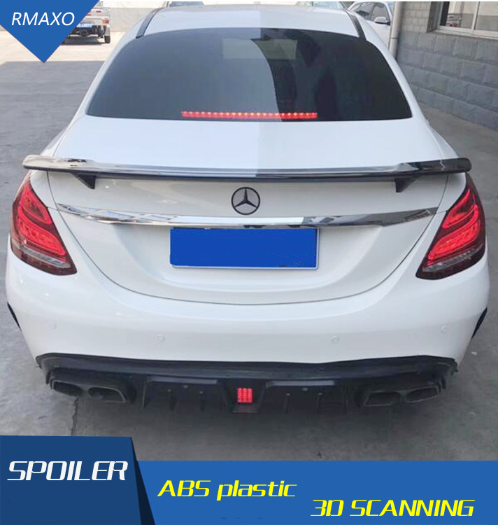 For Benz <font><b>W205</b></font> <font><b>Spoiler</b></font> GTS ABS Material Car Rear Wing Primer Color Rear <font><b>Spoiler</b></font> For Benz <font><b>W205</b></font> C180 C200 C260 <font><b>Spoiler</b></font> 2015 image
