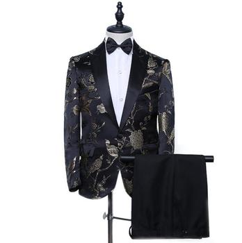 ternos de casamento para homens Blazer men groom suit set with pants mens wedding suits stage clothing formal dress