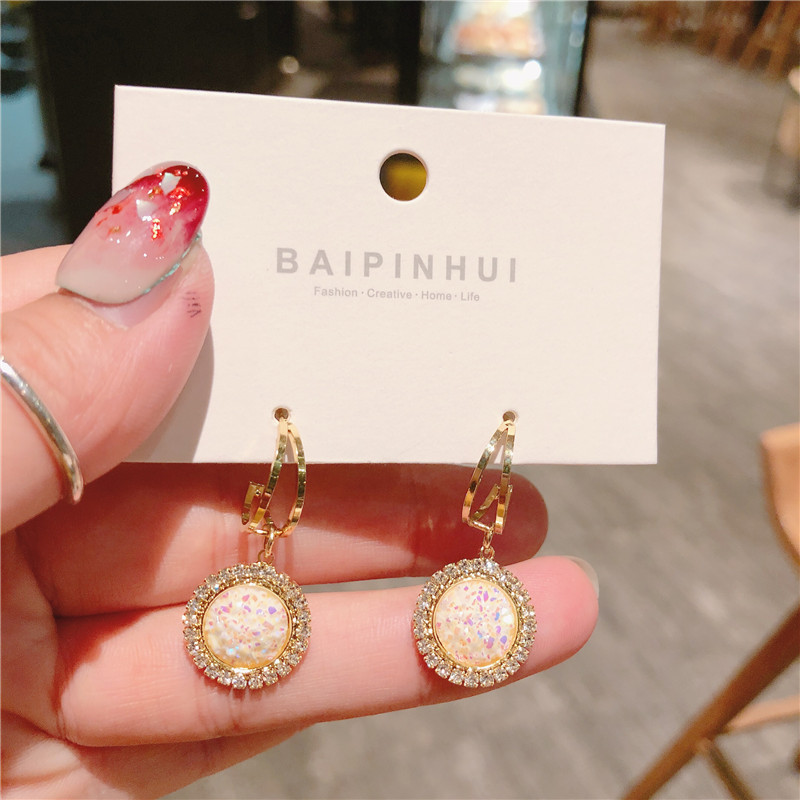 Korean Fashion Electroplating simple shiny pottery earrings ornaments baroque women jewelry korean