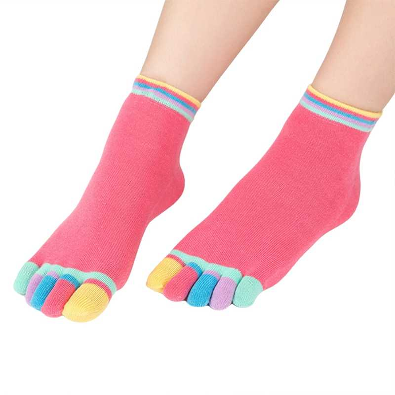 Candy Color Refers To Five Finger Socks Female Cotton Tube Cute Student Separate Toes Cotton Short Socks Four Seasons Breathable