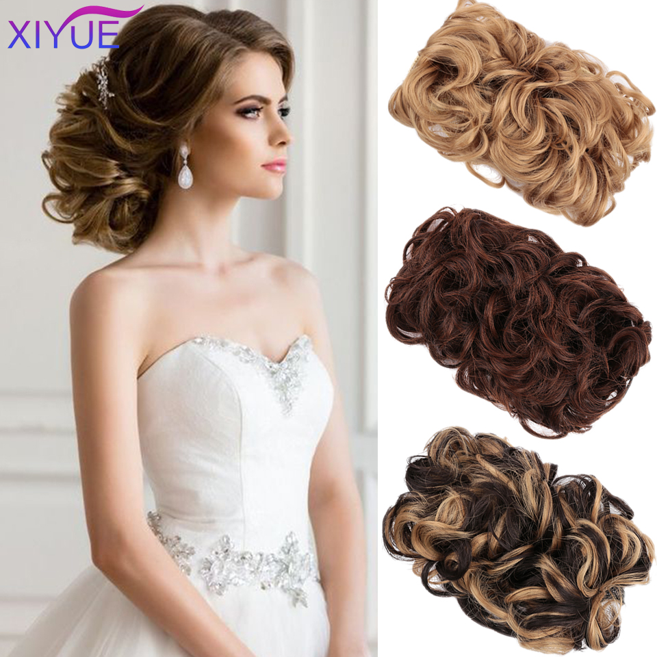 Girls Curly Scrunchie Chignon With Clips And Rubber Band Brown Gray Synthetic Hair Ring Wrap On Messy Bun Ponytails