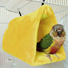 Faroot 17X11X13CM Plush Parrot Hammock Hanging Cage Cave Snuggle Safe and Warm Hut Tent Bed Bunk Bird Pad(China)