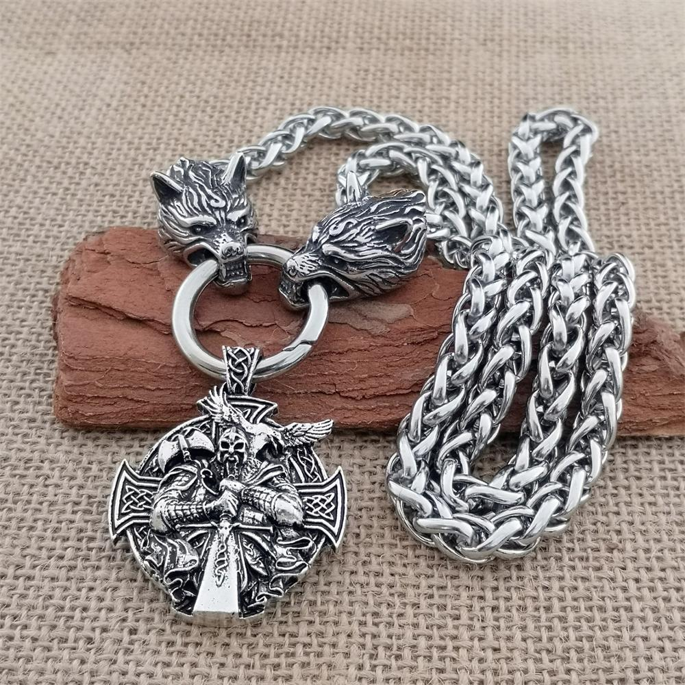 Viking Raven Warrior Pendant Man Necklace Stainless Steel Wolf Head Domineering Chain Necklace Viking Jewelry Gift