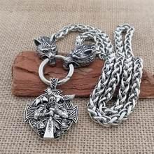 Ожерелье викингов Ворон воин мужское ожерелье из нержавеющей стали голова волка властная цепь ожерелье викингов ювелирные изделия подарок