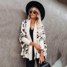 Fitshinling – Long Cardigan léopard pour femme, style bohème, manches chauve-souris, surdimensionné, manteau d'hiver