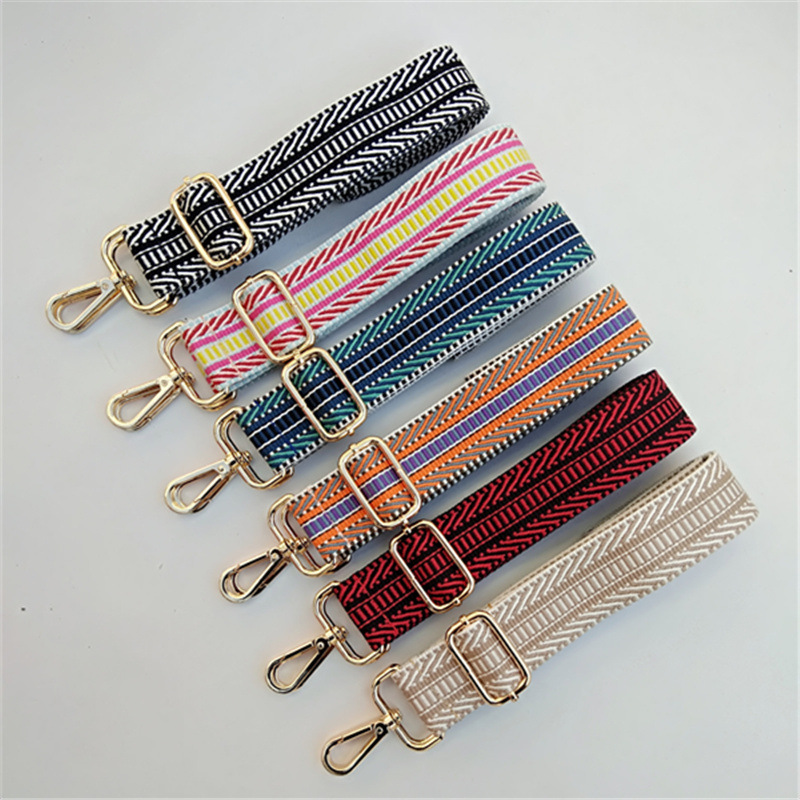 Luxury Widened Shoulder Straps Diagonally Single Shoulder Women's Bag Straps Ethnic Style Belt Contrast Stripe Bag Strap O Bag