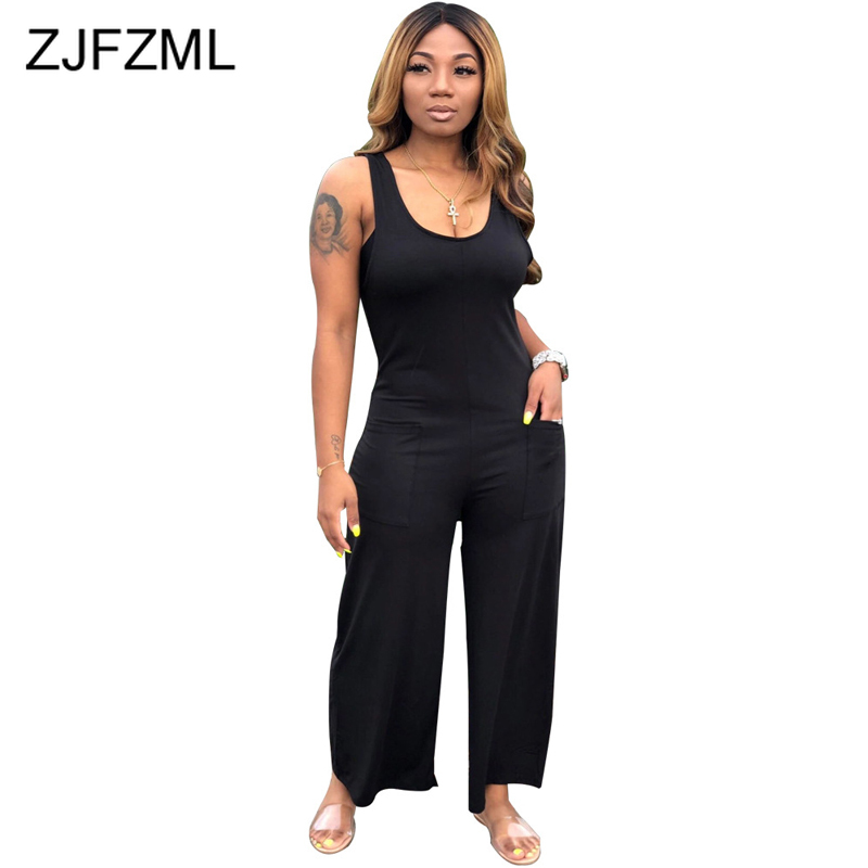 Sleeveless Sexy Wide Leg Overalls For Women Open Back Solid Party Club One Piece Romper Summer Scoop Neck Plus Size Bodysuit