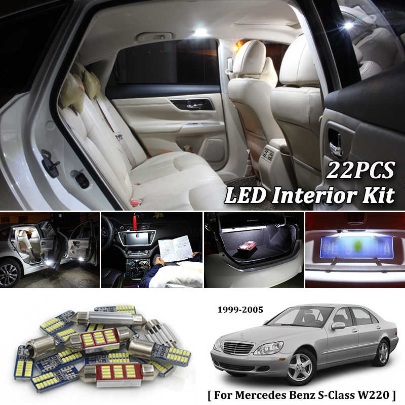 22X White Canbus led Car interior lights Package Kit for Mercedes Benz S Class W220 led interior lights 1999- 2005