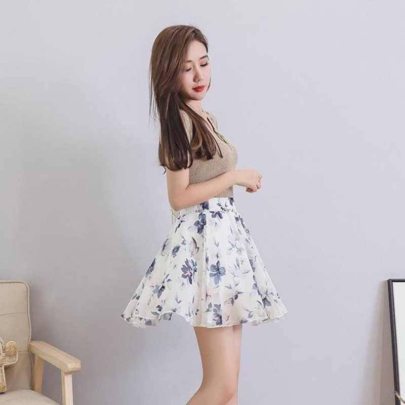 Casual Pleated Short Skirt Fashion Women Summer Skirt High Waist Chiffon Printed Mini Skirts