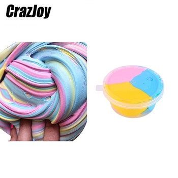 35g macaron color fluffy slime toys diy squishy kids toy with box polymer light soft clay modeling clay plasticine cloud slime 60ml Cute Fluffy Slime Box Antistress Soft Clay Plasticine For Modeling Clay Polymer Slime Supplies Light Plasticine Gum Toys