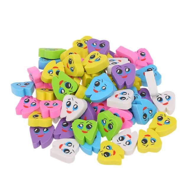 50 pièces/sac molaire en forme de dent gommes en caoutchouc dentiste clinique école grand cadeau pour les enfants