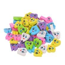 Gomas de borrar de goma para dentista, clínica, escuela, gran regalo para niños, 50 unids/bolsa forma de diente Molar