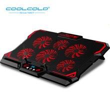 COOLCOLD, 15,6 дюймов, игровой кулер для ноутбука, шесть вентиляторов, светодиодный экран, 2600 об/мин, охлаждающая подставка для ноутбука, подставка для ноутбука