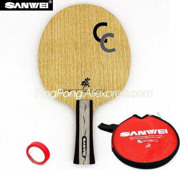 SANWEI CC karbon (5 + 2 karbon, ücretsiz çanta ve kenar bandı) SANWEI masa tenisi Blade/raket orijinal SANWEI Ping Pong yarasa/kürek