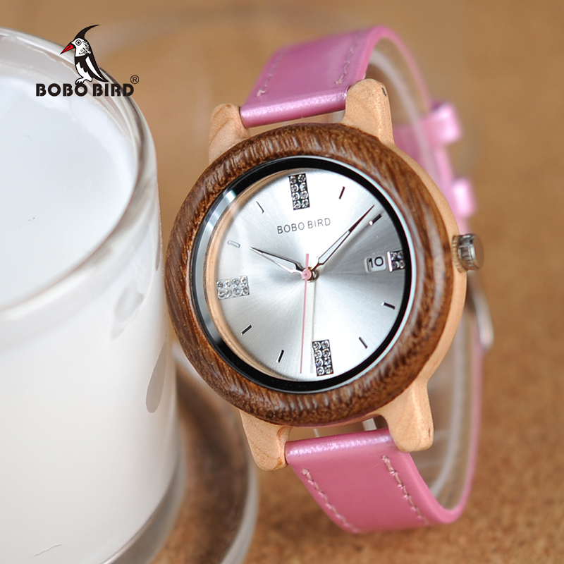 Reloj Hombre BOBO BIRD Promotion Wood Watch Casual Wristwatch Relogio Leather Band To Him Gift Birthday Present Dropshipping