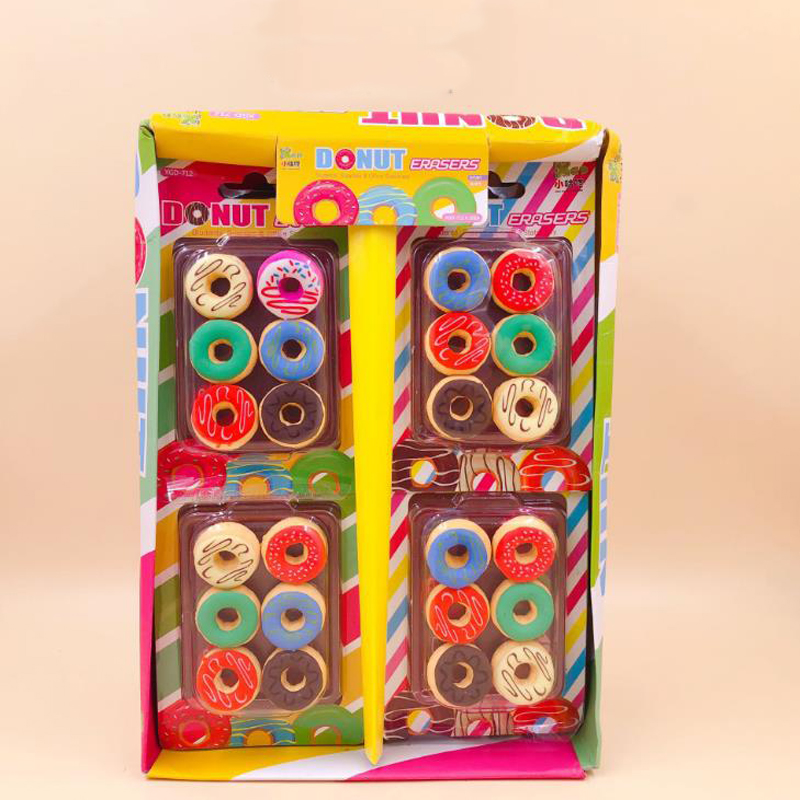 6 Pcs/pack Kawaii Macaroon Color Donut Cake Rubber Pencil Erasers For Kids Students Korean Stationery School Papelaria