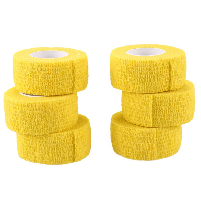 6 PCS First Aid Medical Self-Adhesive Elastic Bandage Tape (Yellow, 2.5cm)