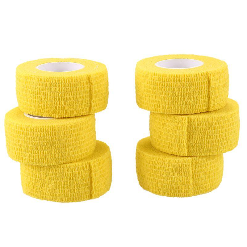 6 PCS First Aid Medical Self-Adhesive Elastic Bandage Tape (Yellow, 2.5cm)