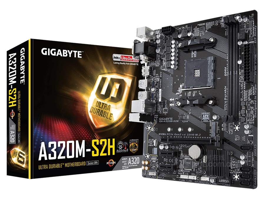 New Gigabyte A320M S2H Motherboard M-ATX AMD A320/DDR4/M.2/USB3.1/STAT3.0/SSD 32G Channel Socket AM4 Mainboard On Sales