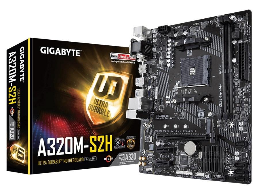 New Gigabyte A320M S2H Motherboard M-ATX AMD A320/DDR4/M.2/USB3.1/STAT3.0/SSD 32G Channel Socket AM4 Mainboard On Sales