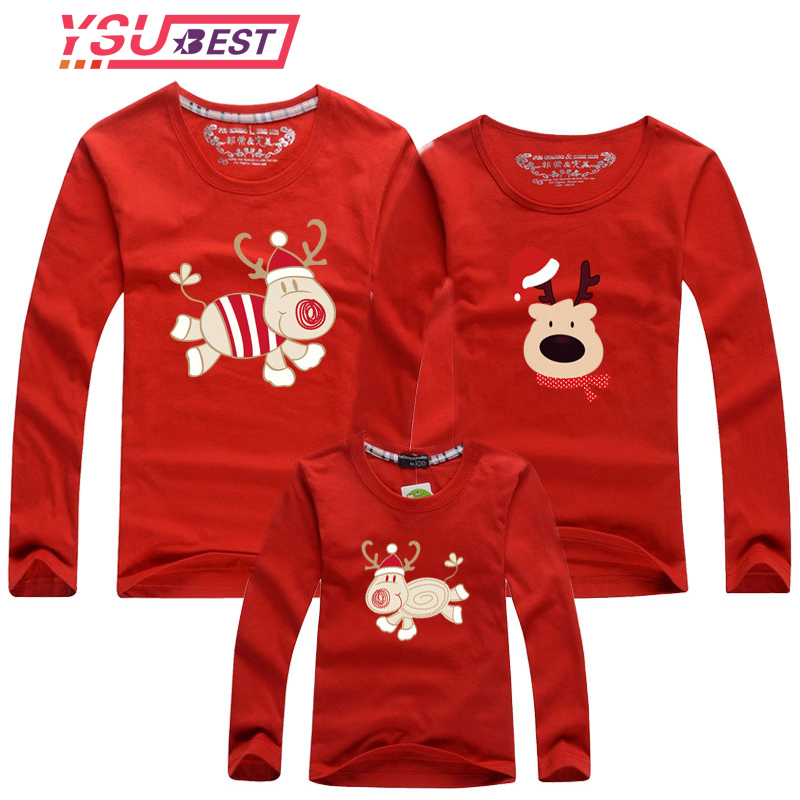 2019 Christmas Shirt Family Look Deer Mommy Me Clothes Matching Family Outfit Mother Daughter Mom Son Father Baby Sweatshirt Red