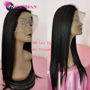 Silkswan Yaki Straight 360 Lace Wigs Brazilian Human Hair Wigs 360 Lace Frontal Wigs 250 Density 20 Inch Wigs For Women