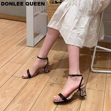 2019 Ankle Strap Heels Women Sandals Summer Shoes Women Open Toe Chunky High Heel Party Dress Sandals Fashion Snake Sandal Slide single sole clear lucite chunky heel sandals women ankle strap perspex high heel sandal plastic transparent dress sandals