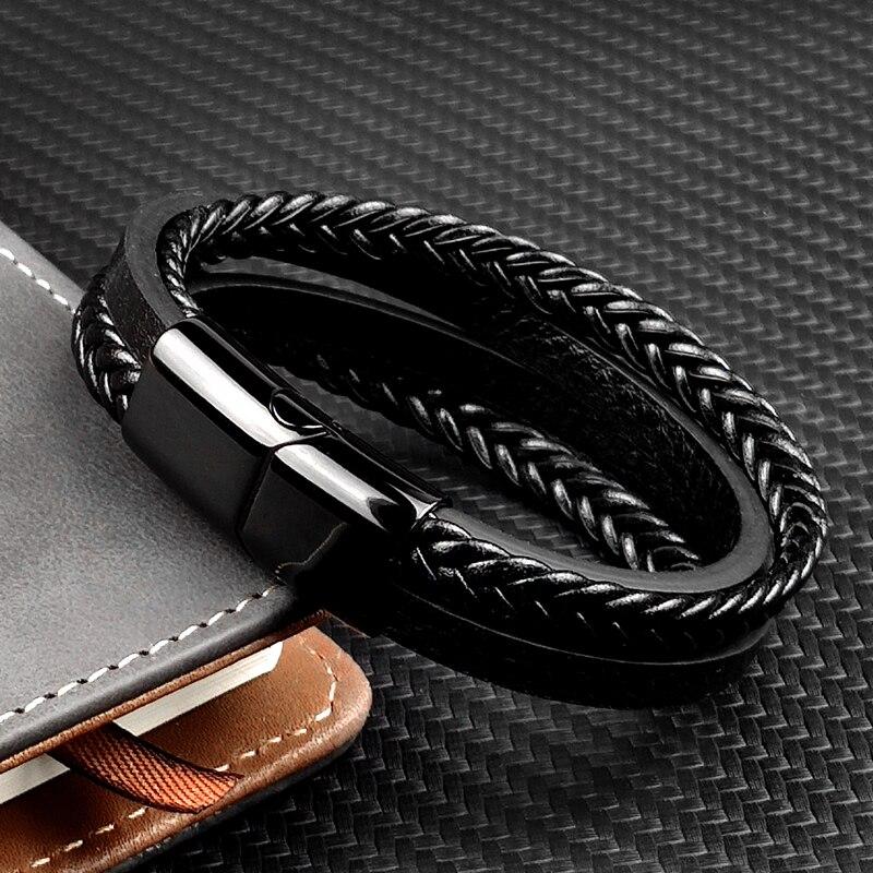 MingAo-Bracelets Chakra en acier inoxydable pour hommes, breloque Punk de Tennis, noir, bijoux de noël, Bracelets pour femme