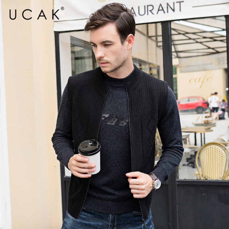 UCAK Brand Sweater Vest Men Merino Wool Pull Homme Fashion Trend 2019 Winter Autumn Warm Casual Zipper Striped Sweaters U1027