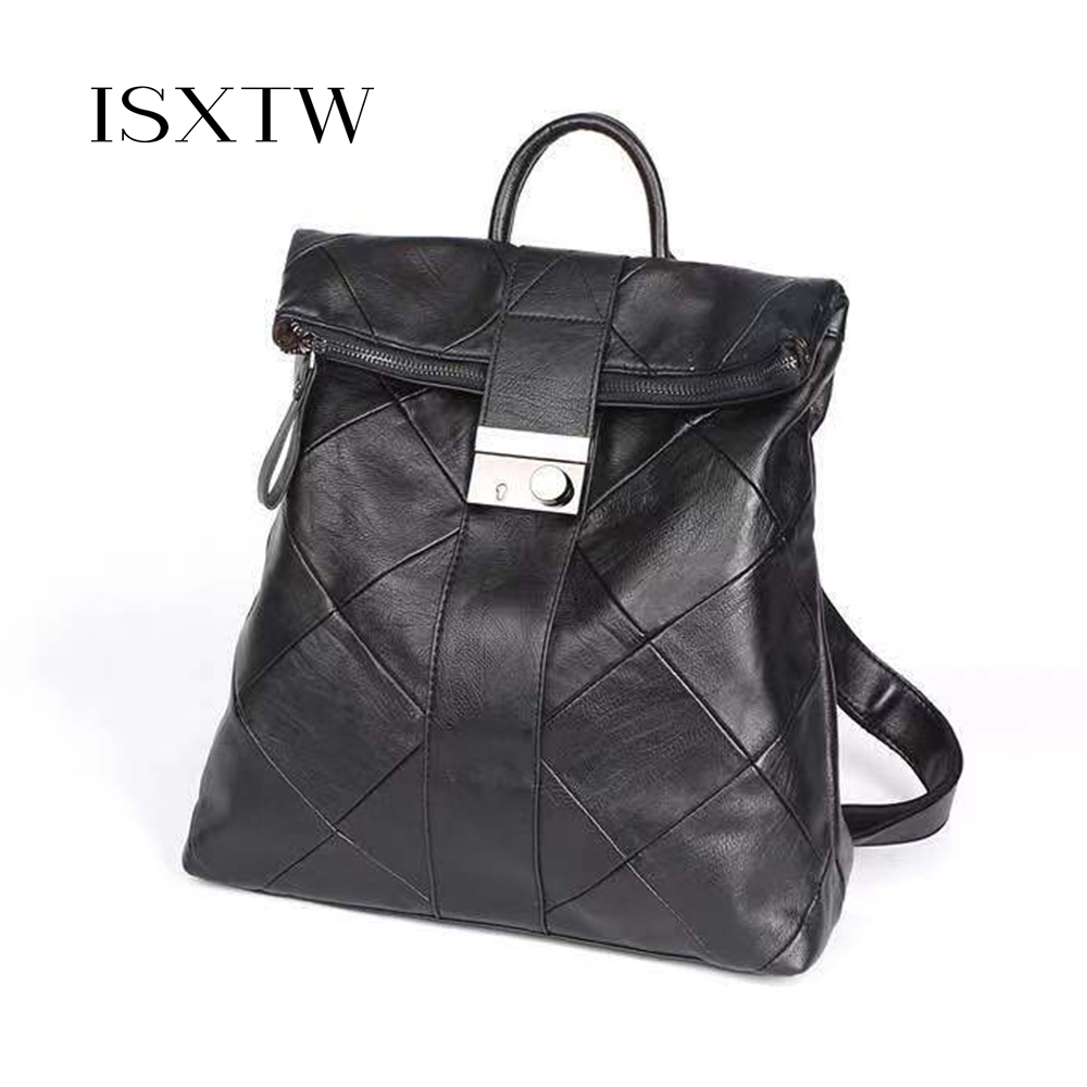 ISXTW 2019 New Fashion Soft Leather Stitching Backpack Female Korean Version Of The Wild Lock Backpack Portable Travel Bag /C2
