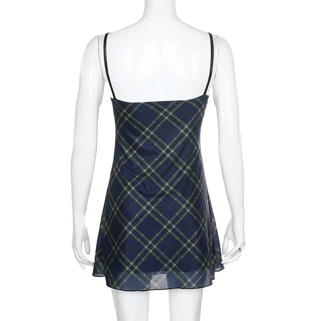 ALLNeon E-для девочек на рост от 90s спагетти ремень повязки спереди оборками в клетку для маленьких девочек в винтажном стиле; Из сетчатой ткани, с треугольным вырезом, с открытой спиной мини-платье А-силуэта из Partywear 6