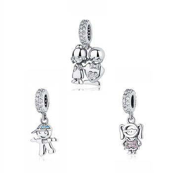 Authentic 100% 925 Sterling Silver Charm Bead Boy Girl Pendant Family Charms Fit Original Pandora Bracelets Women DIY Jewelry